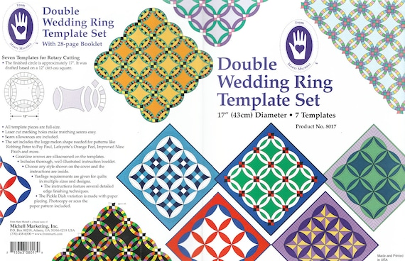 double wedding ring template set by marti michell with etsy