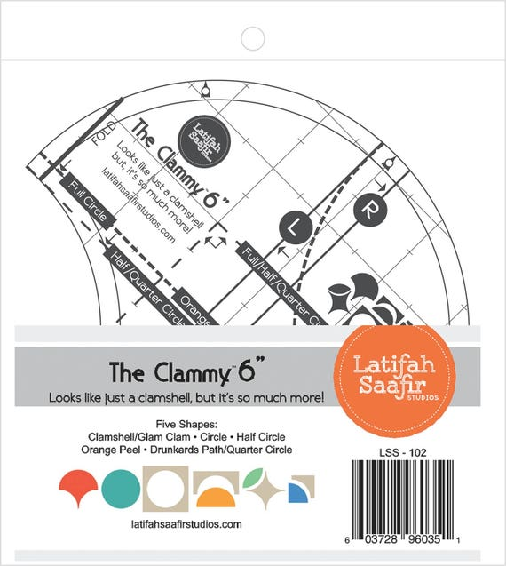 the clammy 6 inch quilt template for clamshell circle half etsy