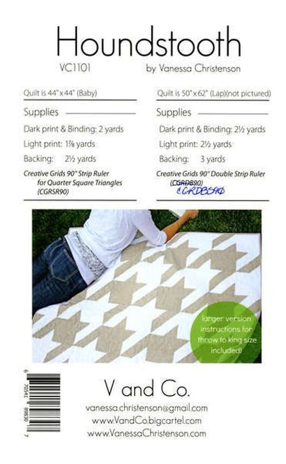 HOUNDSTOOTH QUILT PATTERN 5 Sizes Uses Creative Grids 90 Degree Strip Rulers