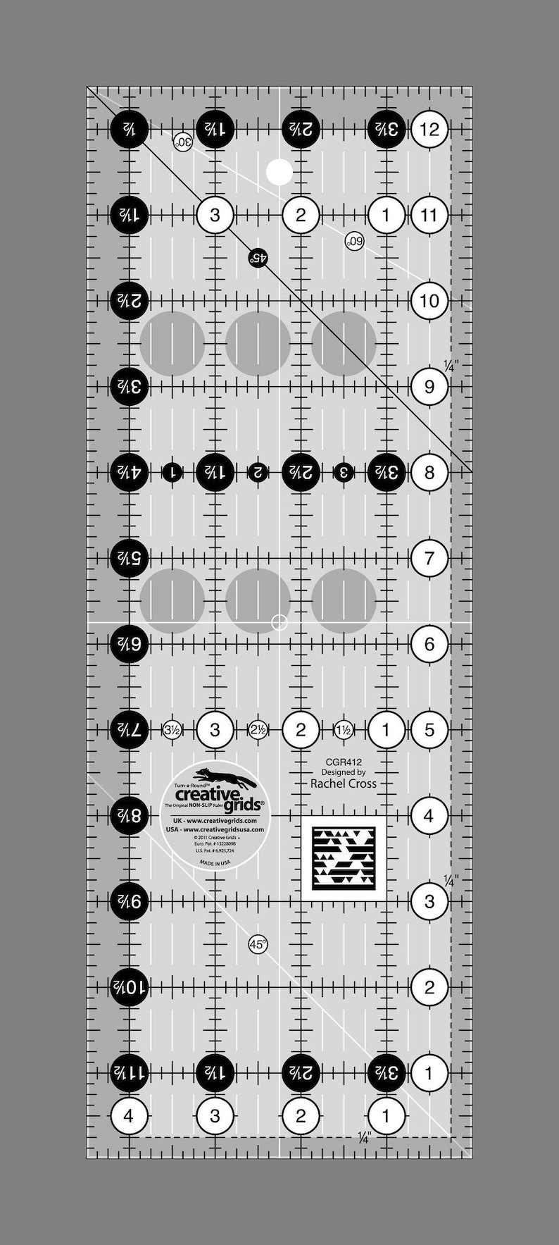 Creative Grids 4-12-Inch X 12-12-Inch Quilt Ruler CGR412