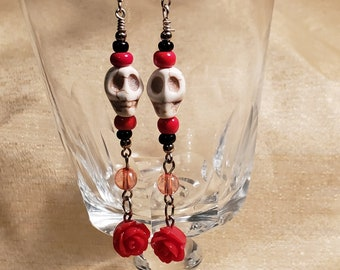 Skulls and Dangling Roses Earrings