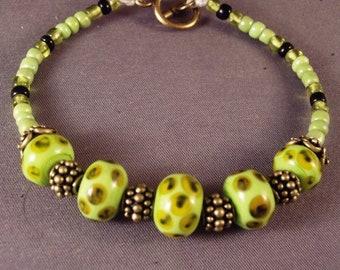 Frog Pond Lampwork Beaded Bracelet