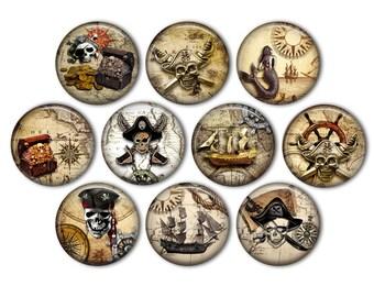 Pirate charm pin brooch badge ship jolly roger flag treasure map