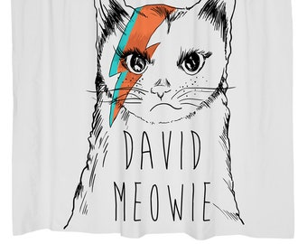 Cat Home Decor Shower Curtain Funny Grumpy David Bowie Music Grey Gift Lover