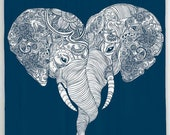 Elephant Shower Curtain, Indian Boho Decor, Bathroom Elephant Art, Inspirational Art, Elephant Heart Bath Curtain, Navy Shower Curtain