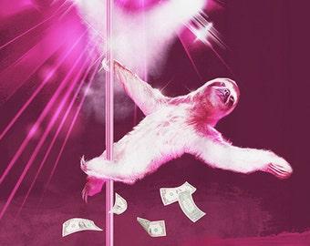 Sexy Shower Curtain Sloth Funny Bathroom Decor Purple Home Pole Dancing Art Weird Bath