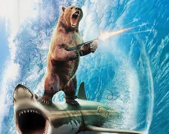 Funny Shower Curtain Shark Bear Nautical Bathroom Ideas Surreal Decor Beach Theme Art