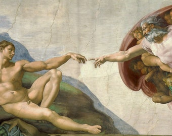 Art Shower Curtain Classic Bathroom Renaissance Famous Decor Sistine Chapel Birth Of Adam Michelangelo