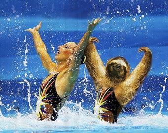 Sloth Gifts Shower Curtain Funny Nautical Bathroom Animal Olympic Blue