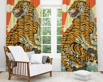 Tiger Window Curtain Japanese Art Cool Home Decor Rising Sun Theme Yellow Blackout Sheer Fabric Panel