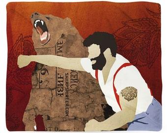Funny Blanket Super Soft Fleece Fun Bedroom Decor Man Punching Bear Novelty Unusual Gift For Him Russian Theme