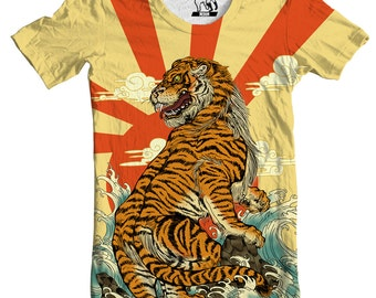 a779c946c Tiger T-shirt, Japanese Art Tee, Men's T-shirt, Tiger Graphic Tee, Japanese  Sun Design, Tiger Art Print, Japanese Artwork, Artistic T-shirt