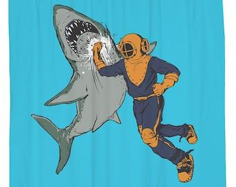 Cool Shower Curtain Shark Funny Nautical Decor Beach Theme Scuba Diver Turquoise Blue Fabric Week