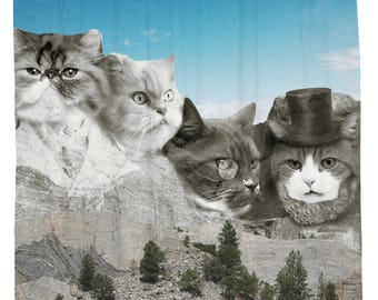 Cat Shower Curtain Funny Animal Presidents Fabric Mount Rushmore Waterproof