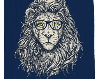 Lion Shower Curtain Geek Chic Decor Animal Head Art Print Cool Blue Waterproof Fabric