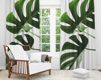Tree Window Curtains Boho Drapes Chic Decor Palm Leaves Nature Home White Fabric Curtain Best Selling