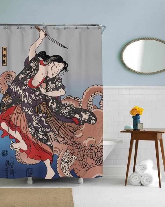 Octopus Shower Curtain Traditional Japanese Art Kraken