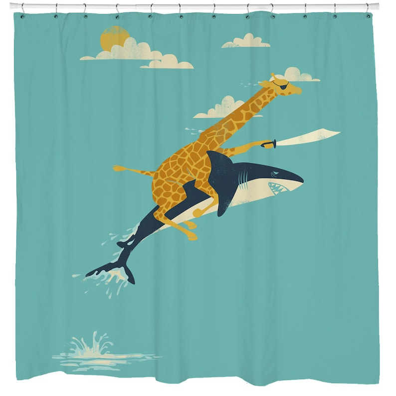 Shark Shower Curtain Beach Cabin Decor Nautical Bathroom
