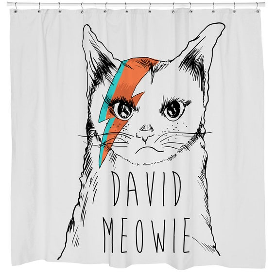 Cat Home Decor Shower Curtain Funny Grumpy David