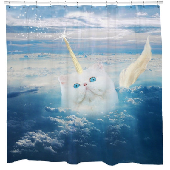 Cat Shower Curtain Unicorn Funny Blue Fabric