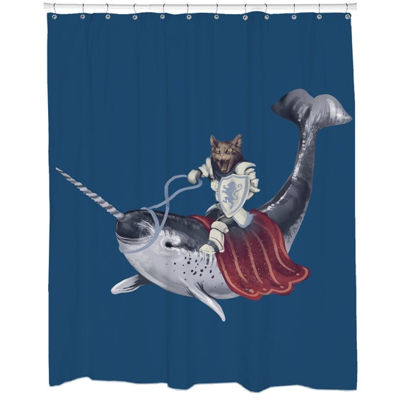 Funny Shower Curtains Cat Curtain Blue Narwhal