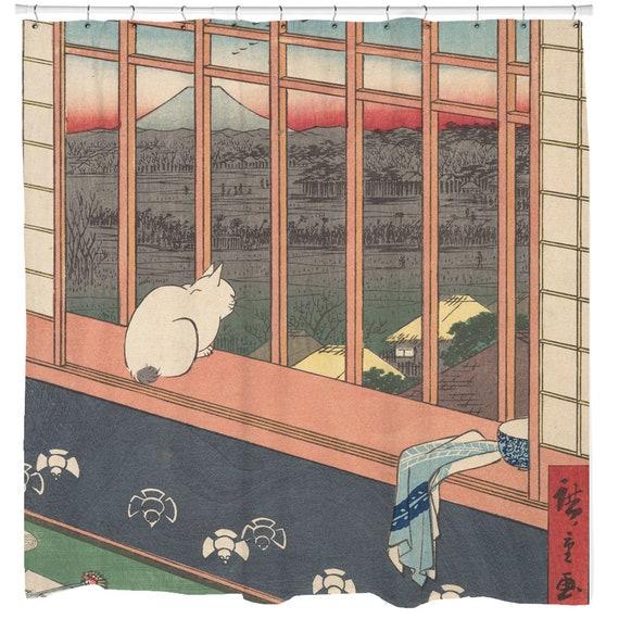 Cat Shower Curtain, Japanese Bathroom Decor, Japanese Art, Traditional Art, Cat Theme Decor, Japan Art Bathroom Curtain, Unique Gift Ideas