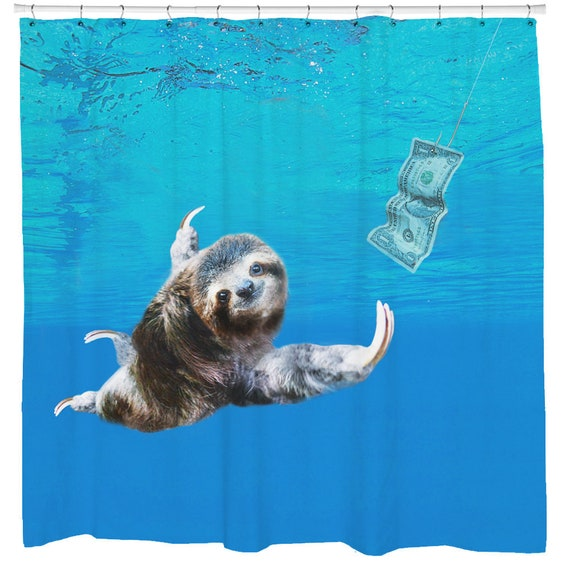 Sloth Shower Curtain Funny Titanic Bathroom Nautical Decor Gifts Surreal Unique Home Ideas Sharp Shirter