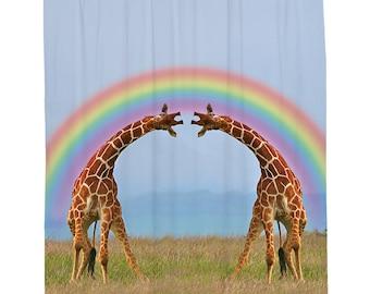 Giraffe Shower Curtain, Rainbow Animal Shower Curtain, Happy Bathroom  Decor, Giraffe Bathroom Accessories