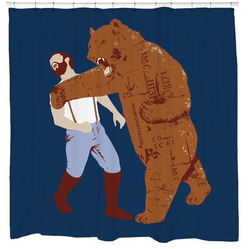 Bear Shower Curtain Funny Bathroom Art