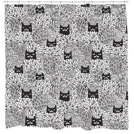 Cat Home Decor, Cute Cat Shower Curtain, Flower Shower Curtain, Black Cats Decor, Floral Bathroom, Minimal Decor, Black and White Fabric