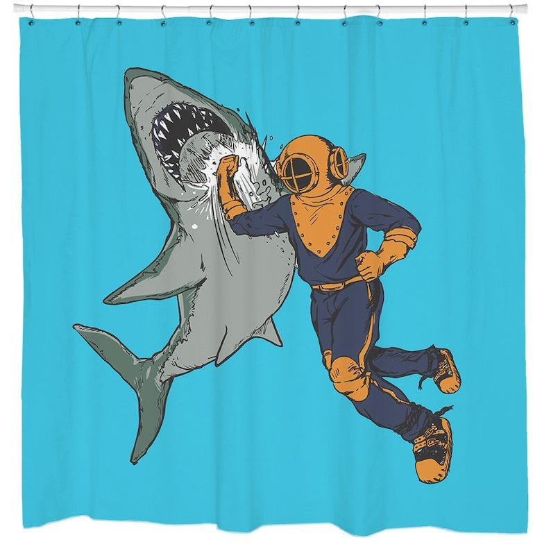Cool Shower Curtain Shark Funny