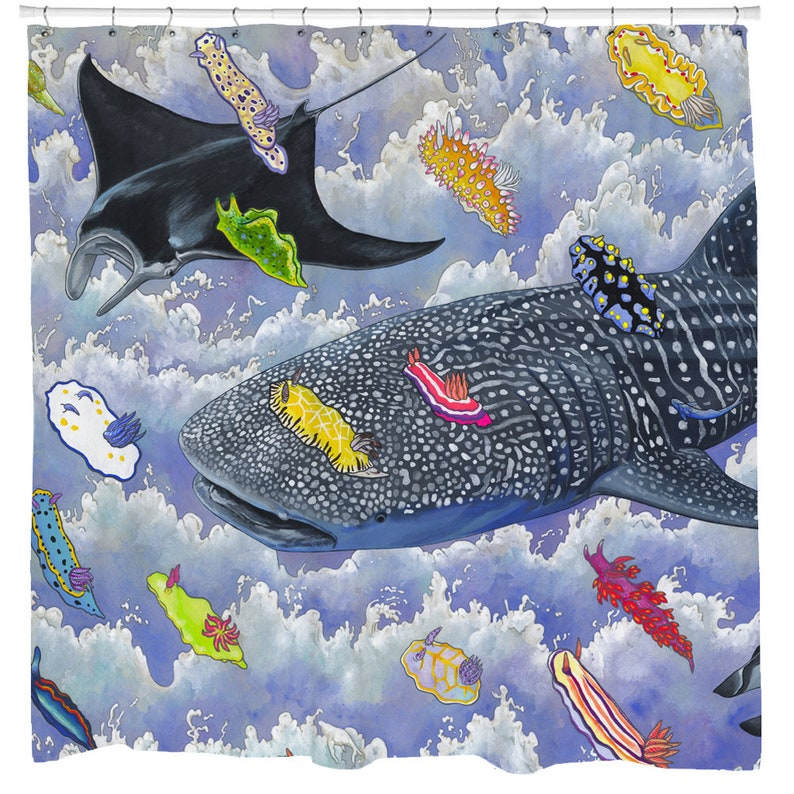 Fish Shower Curtain Ocean Decor Nautical Whale Shark