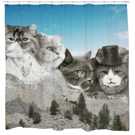 Cat Shower Curtain Funny Animal Presidents Fabric