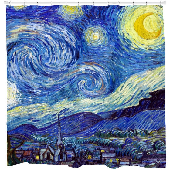 Starry Night Shower Curtain Famous Art Bathroom