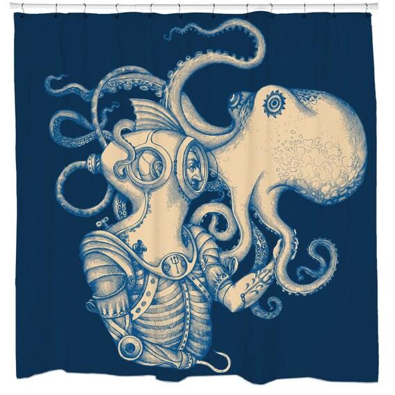 Octopus Shower Curtain Kraken Bath Decor Nautical Bathroom
