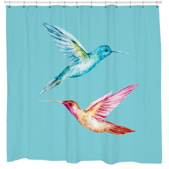 Shower Curtain Teal Bird Bathroom Decor Birds
