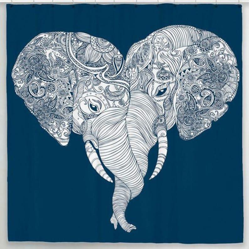 Elephant Shower Curtain Indian Boho Decor Bathroom