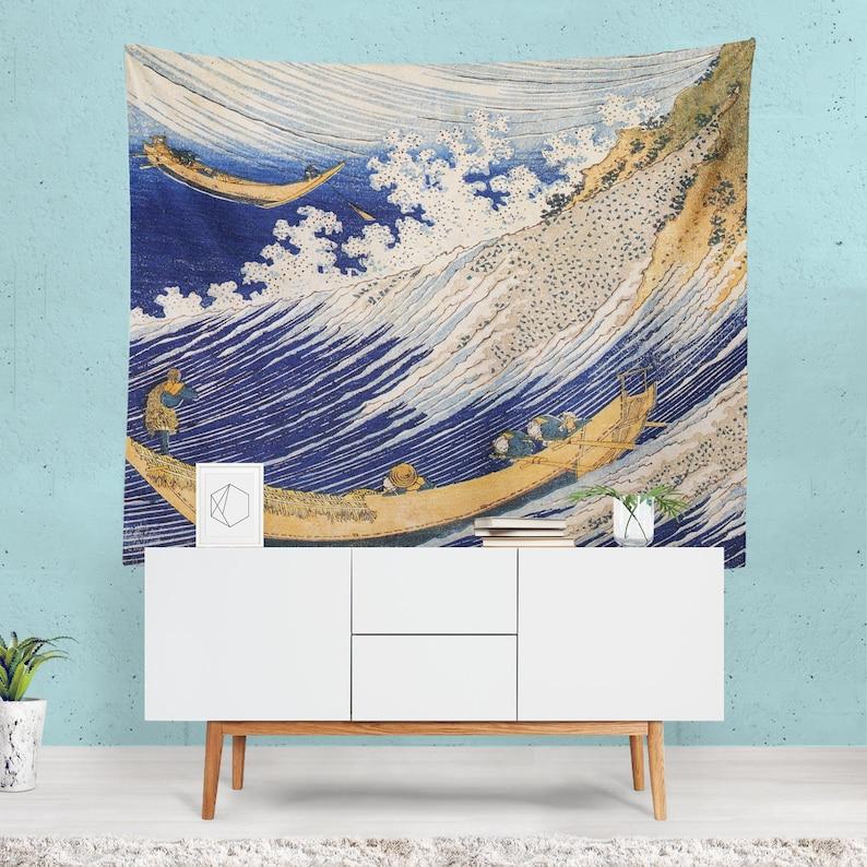 Japanese Tapestry Nautical Home Decor Japan Wall Art Sea Etsy