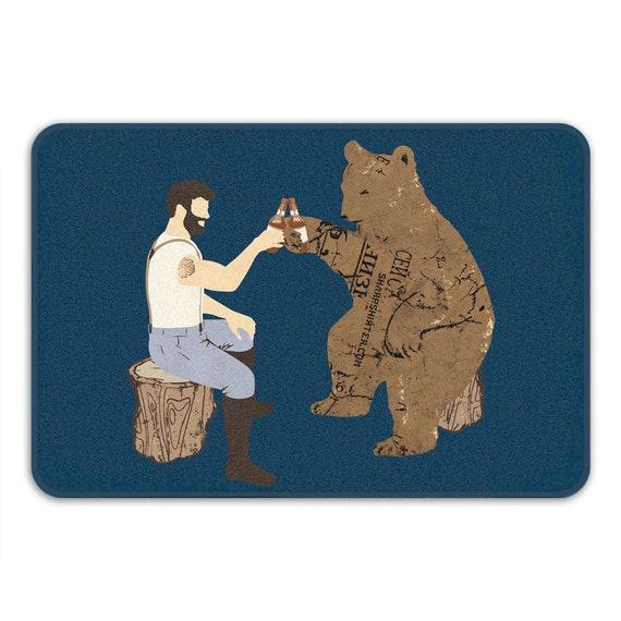 Funny Bath Mat Bear Mat Cool Mat Beer Art Non Slip Bath