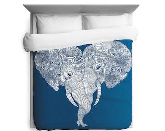 King Duvet Cover, African Decor, Elephant,  Machine Washable, Indian Art, Nature Theme,  Blue White Fabric, African Art, Heart Shape