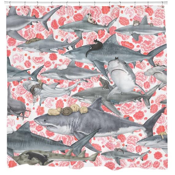 Cat Shower Curtain, Shark Shower Curtain, Floral Pattern, Nautical Bathroom Decor, Beach Theme Bathroom Decor, Cat Art