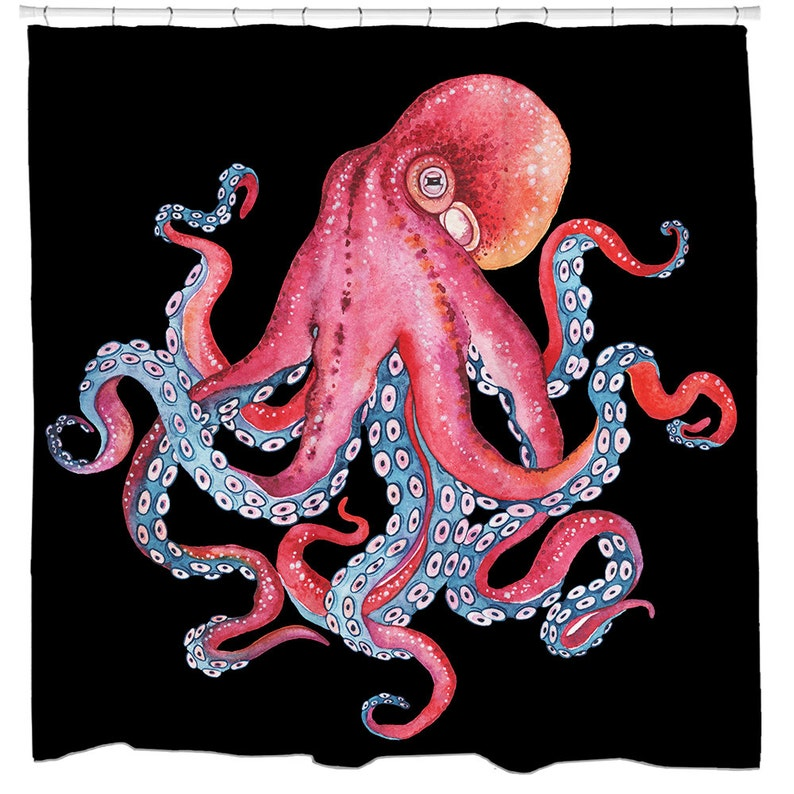 Octopus Shower Curtain Bathroom Decor Beach Theme