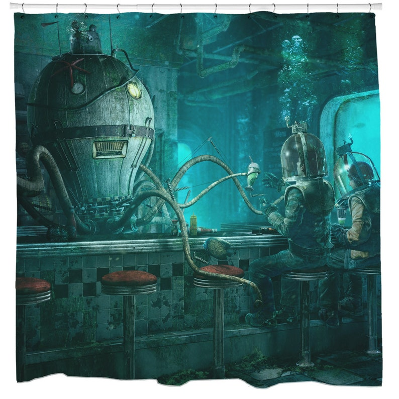 Octopus Shower Curtain Steampunk Bathroom Art Nautical