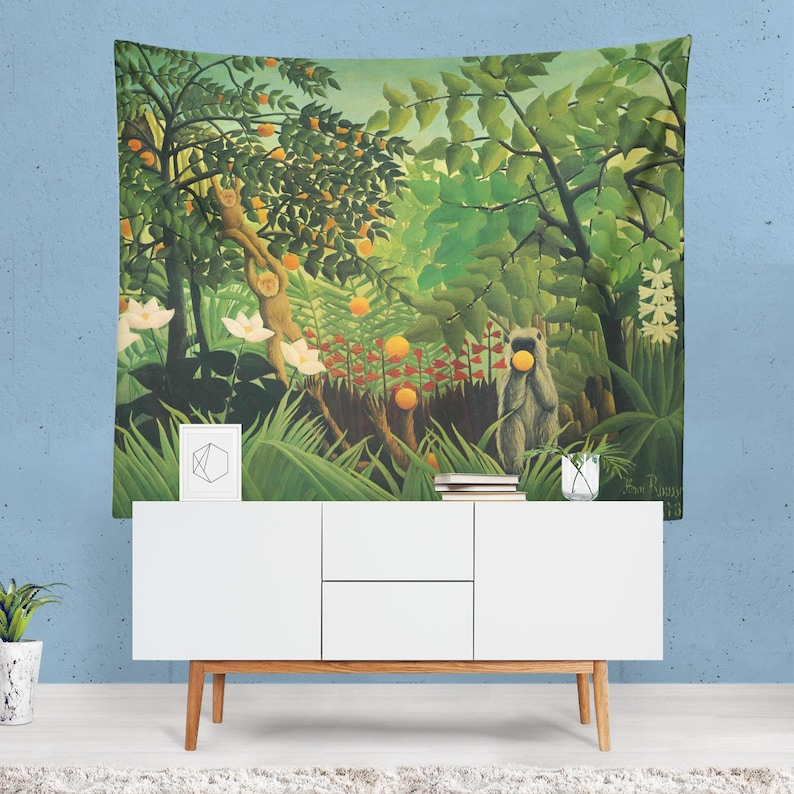 African Art Tapestry Animal Wall Art Jungle Wall Art Monkey Painting Nature Wall Hanging Jungle Decor African Painting Artistic Gifts