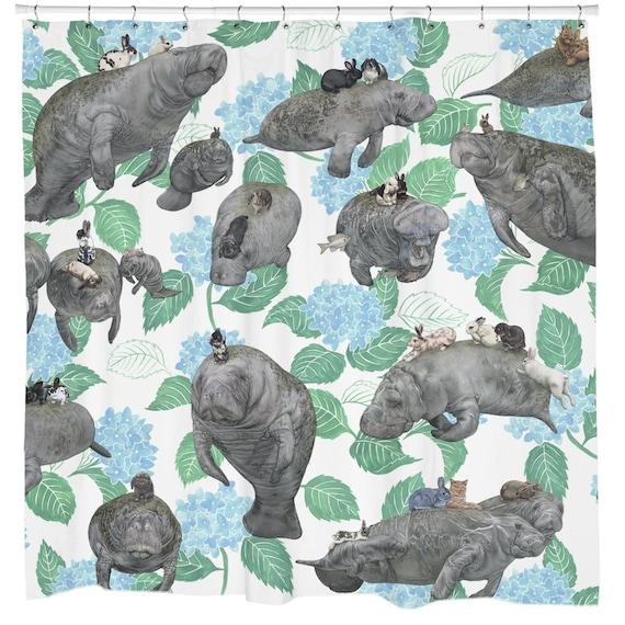 Rabbit Shower Curtain Manatee Boho Chic