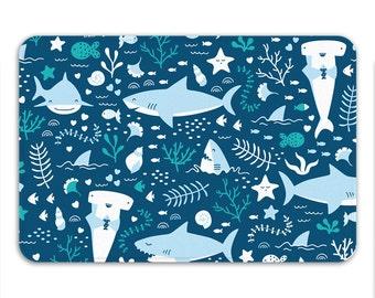 Shark Bath Mat, Shark Bathroom, Ocean Theme Nautical Decor, Jaws Shower Mat, Kids Room Decor, Memory Foam Mat, Navy Blue Mat, Printed in USA