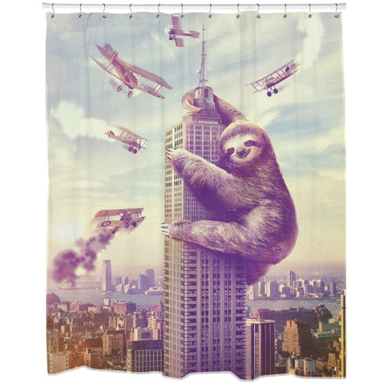 Funny Shower Curtain Fabric Sloth Print