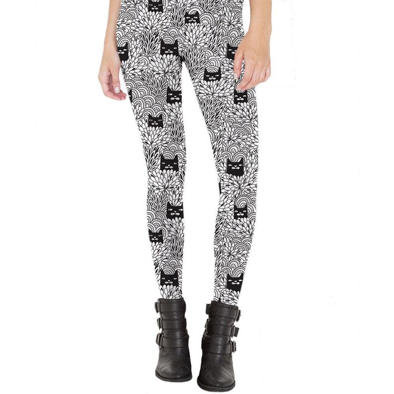 10b2b98928 Cat Leggings, Yoga Leggings, Trendy Leggings, Fashion Leggings, Unique  Leggings, Animal Pattern, Cat Print, Black and White, Black Cats