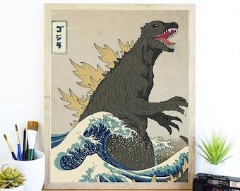 Monster Print, Japanese Poster, Art Print, Gojira Art, Bedroom Art, Famous Art, Movie Lover Gifts, Cool Print, Movie Buff, Artistic Gifts