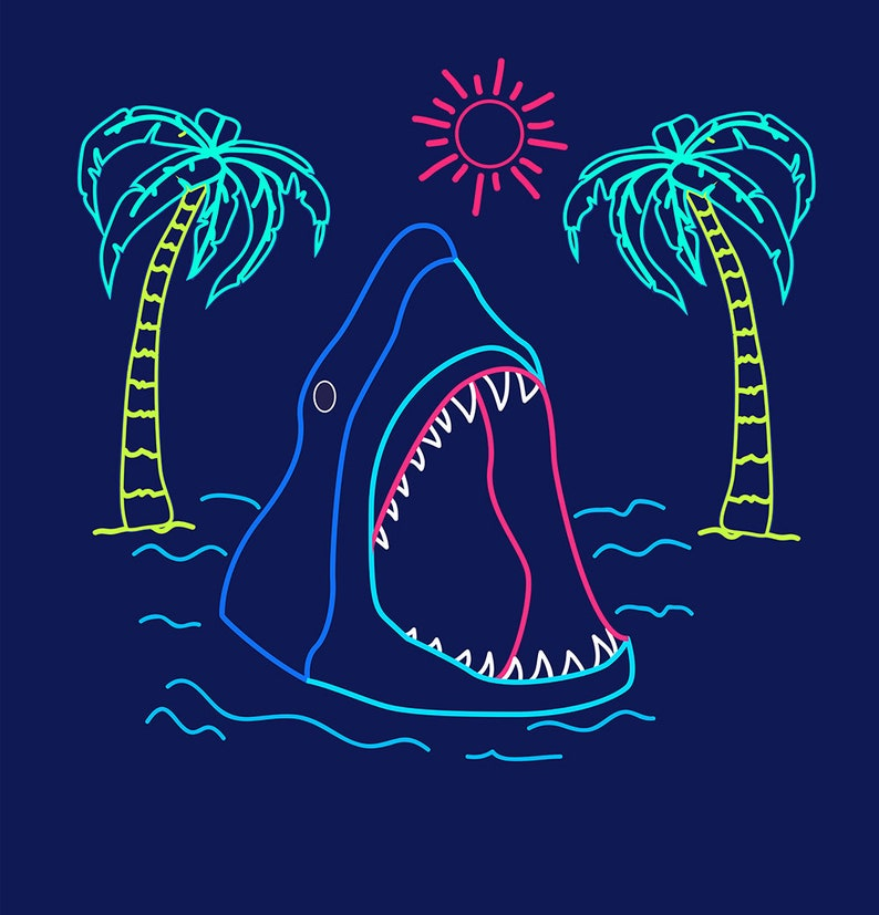 Shark Shower Curtain Beach Cabin Decor Neon Home
